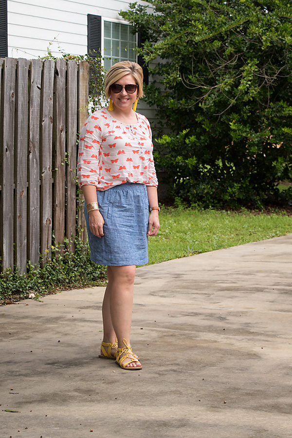 butterfly print top with bright sandals