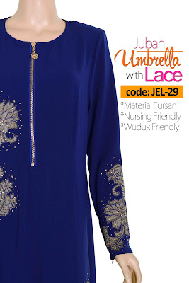 Jubah Umbrella Lace JEL-29 Blue Depan 9