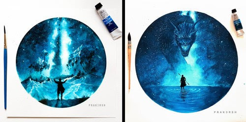 00-Prakersh-Blue-and-Round-Fantasy-Watercolor-Paintings-www-designstack-co