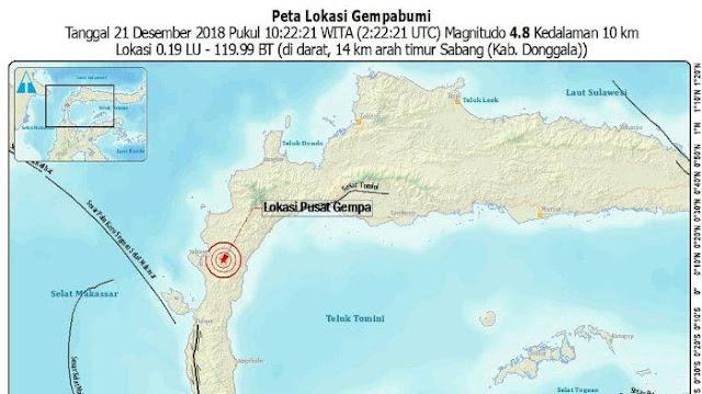 BREAKING NEWS! Gempa 4,8 SR Kembali Guncang Donggala Sulawesi Tengah