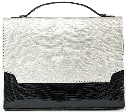 Jamie Metallic Silver and Black Lizard handbag