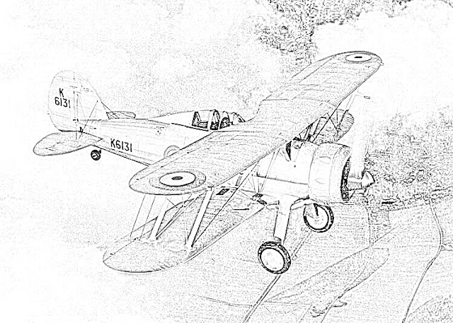 biplanes coloring pages coloring.filminspector.com RAF Gloster Gladiator