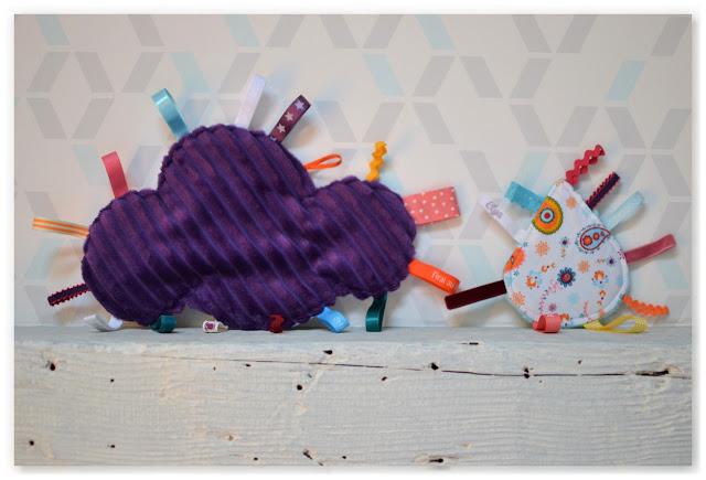 doudous étiquettes nuage violet et goutte bariolée