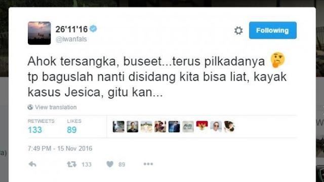 Ahok Tersangka, Iwan Fals: Buseeet... Nanti Disidang Kayak Kasus Jessica