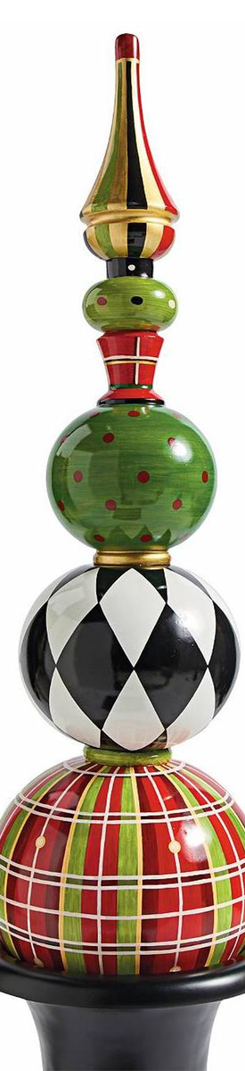 Grandin Road Harper Holiday Topiary Red