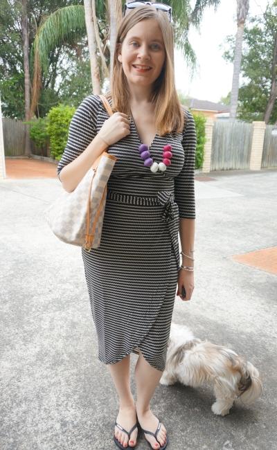 Atmos&Here Arlette jersey wrap dress, louis vuitton MM neverful damier azure   AwayFromBlue