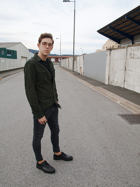 Homme man zara fashion young jean militar persol look