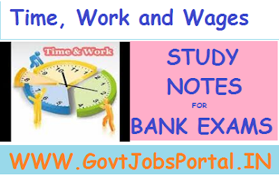 Time, Work and Wages Problems For Bank Exam