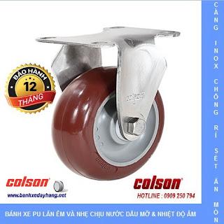Bánh xe PU đỏ, càng bánh xe inox cố định chịu tải 90kg đến 114kg/bánh www.banhxedayhang.net