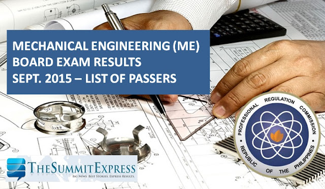 List of Passers: September 2015 Mechanical Engineering ME, CPM board exam results