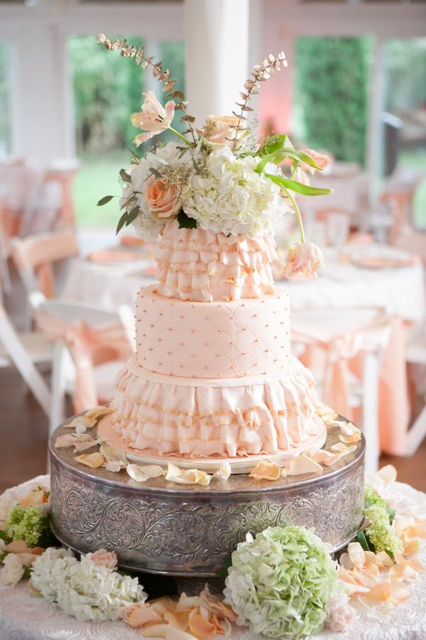 peach+orange+salmon+pink+pastel+shabby+chic+summer+spring+tea+garden+party+victorian+rebel+with+a+camera+wedding+bride+groom+centerpeice+cake+ruffle+ruffles+6 - Detail Spotlight: Peach & Gold