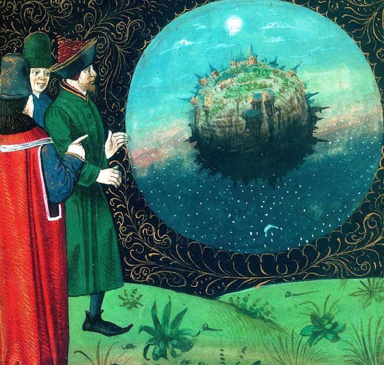 """Cientistas consideram o mundo.  Bartolomeu o Inglês, """"Livro das propriedades das coisas"""""""