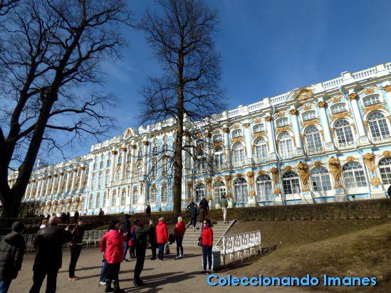 Fachada del Palacio de Catalina en San Petersburgo