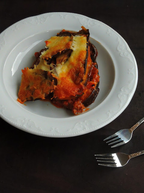 Eggplant Lasagna with Minced Soya filling