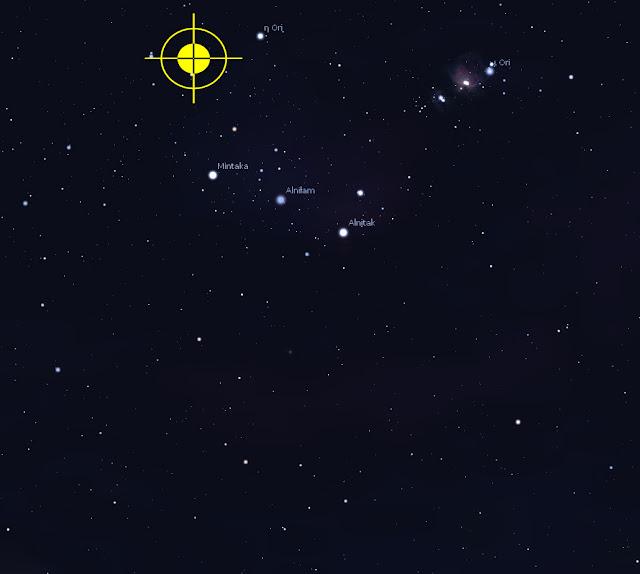 Constelação de Orion e direção da estrela PDS 110