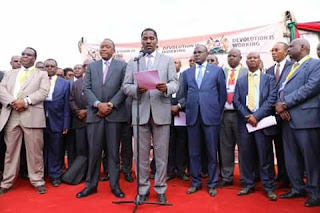 Governors chairman Peter Munya addressing the public on the way forward on the doctors strike. PHOTO | courtesy PSCU