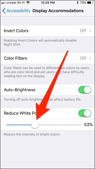 Menù riduzione percentuale illuminazione  iphone
