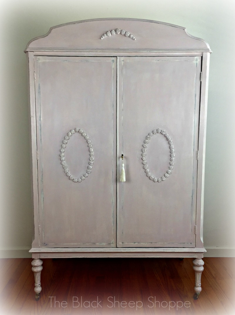 Vintage armoire painted in Old White & Antoinette Pink
