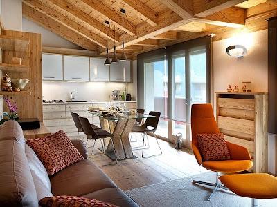 Decoração rústico urbana com mobiliário de madeira rústica com design contemporâneo