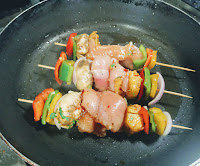 Grilling on pan easy Hawaiian chicken kebabs kabobs recipe