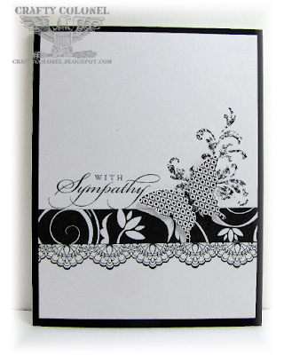 CraftyColonel Donna Nuce for Cards in Envy Black and White Challenge,  Stampin'up Delicate Details and Timeless Textures.
