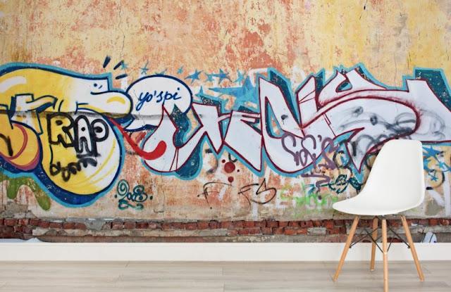Tapet Graffiti betong mur ungdomstapet