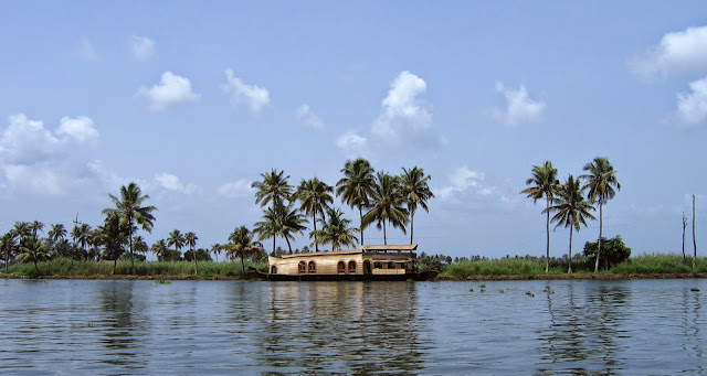 House boat in Alappey back waters in Kerala