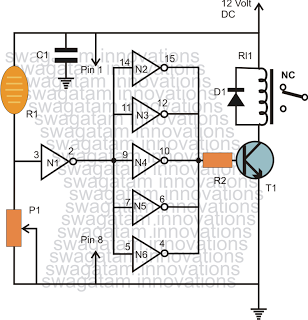 light operated sensitive switch using LDR and NOT gates 4049 IC
