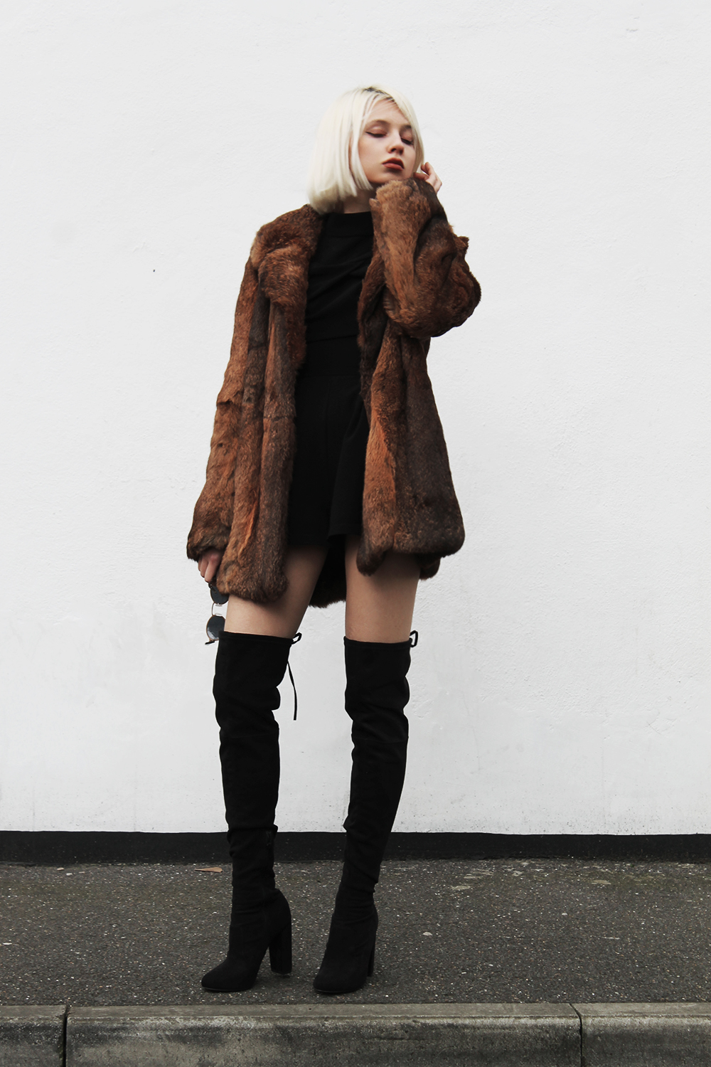 brown faux fur coat jacket, pinterest, over knee boots thigh highs ootd ootn