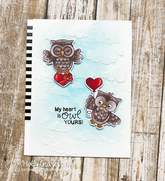Owl Valentine Card by Holly Endress | Love Owl-ways Stamp Set and Cloudy Sky Stencil by Newton's Nook Designs #newtonsnook #handmade