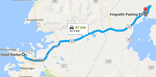 レイキャビックから車でゴールデンサークルのシンクヴェトリル国立公園内にあるシルフラの泉へ行く