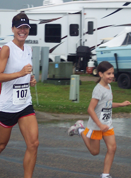 First Ever race!  Smiling in a 5K and getting beat by a 6 year old!