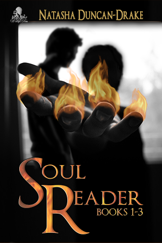 Two male figures in silhouette against a window, one with hand stretched out, fingers on fire. Title says Soul Reader Books 1-3