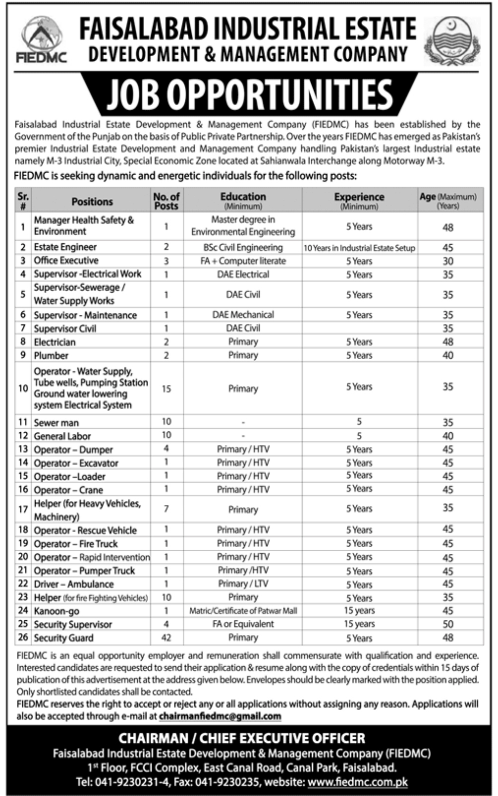 Jobs in Faisalabad Industrial Estate Development And Management Company Feb 2018