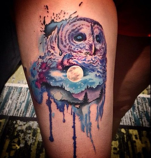 Unique watercolor owl tattoos