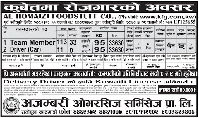 Free Visa, Free Ticket,  Jobs For Nepali In Kuwait Salary -Rs.33,630/