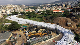 The river of garbage in the Lebanese capital.