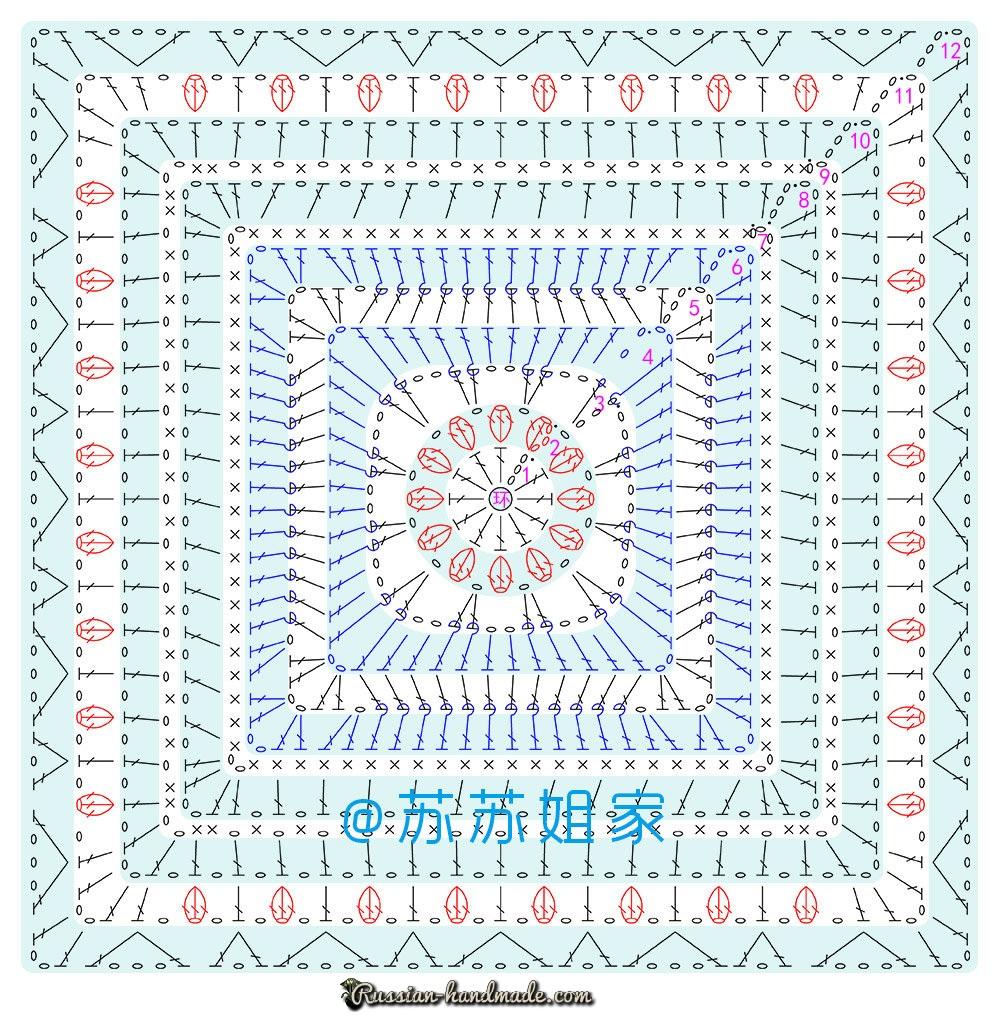 Схемы вязания пледа и подушки многоцветным узором (4)