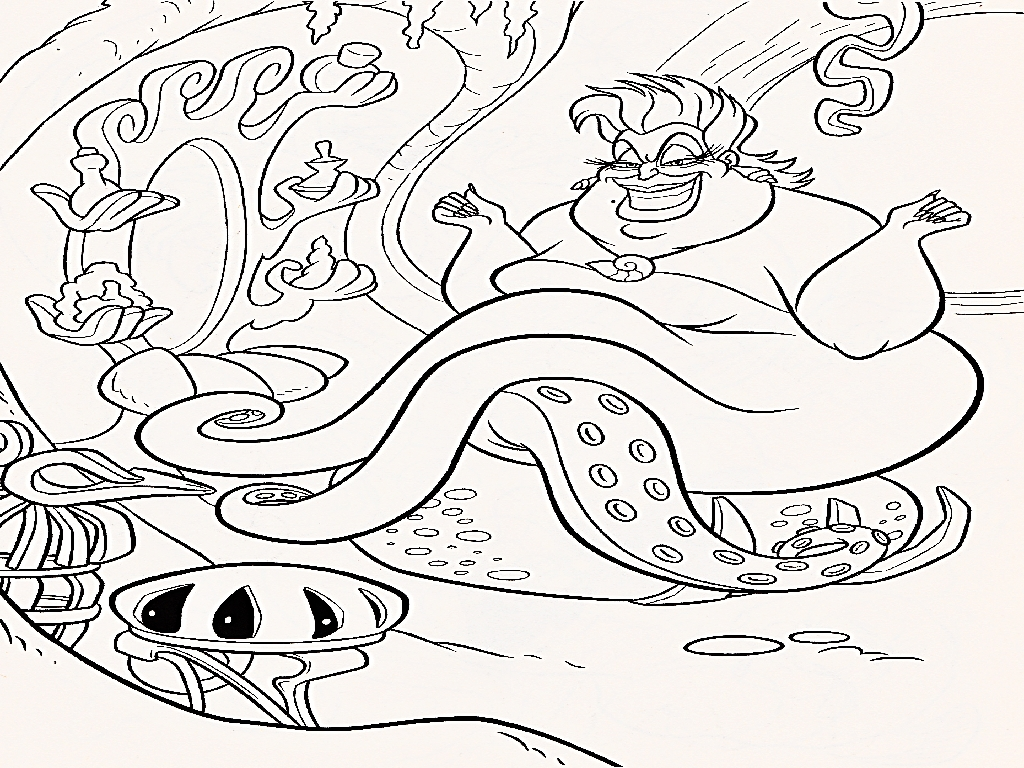 hd little mermaid coloring pages ursula design  big