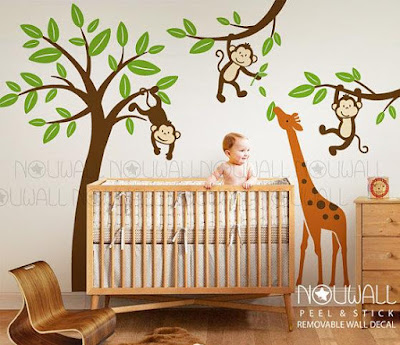 Monkeys On Tree With Giraffe Wall Decal