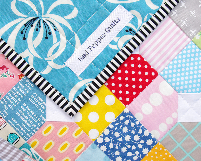 Scrappy Bow Tie Quilt - quilt label | Red Pepper Quilts 2016