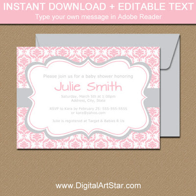 printable pink damask invitation with silver accents for baby shower, birthday, wedding