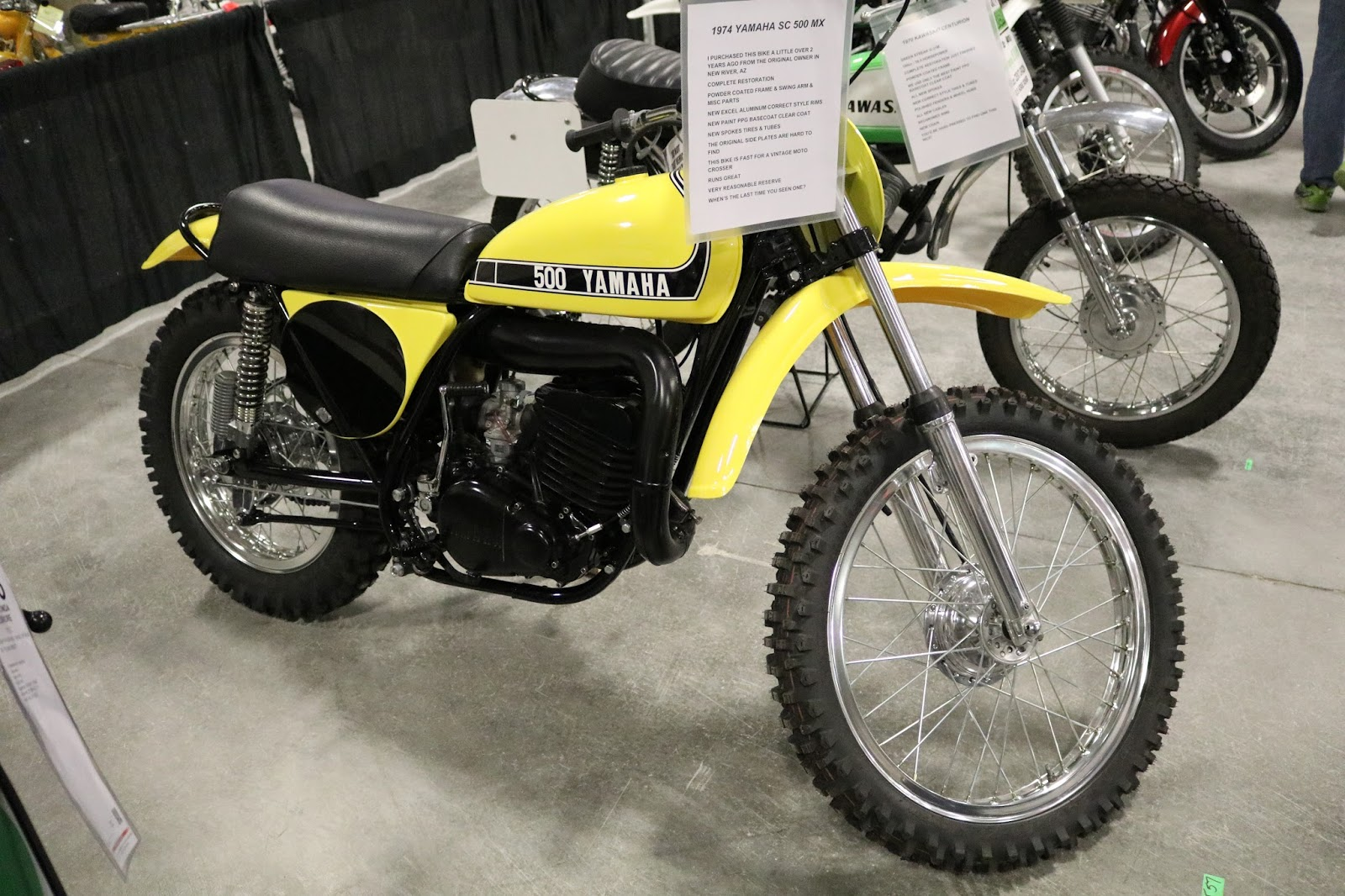 Oldmotodude 1974 yamaha sc500 mx sold for 7 500 at the for Yamaha of las vegas