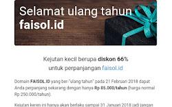 Ketika Dapet Diskon 66% Perpanjang Domain faisol.id