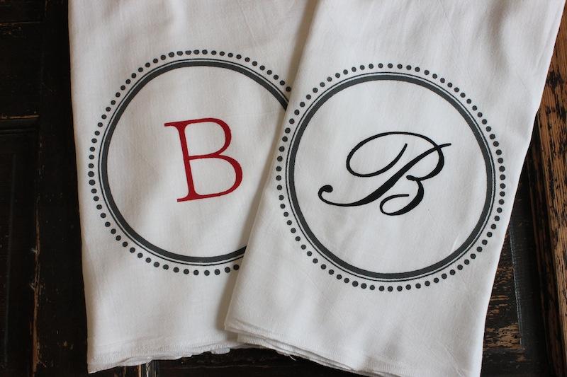 MODERN VINTAGE MARKET: Monogrammed Tea Towels or Kitchen Towels