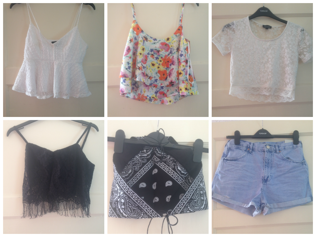 dbdf6f7dfd2d Floral lace crop top- Topshop- bought for £4 on Depop Lace tassle cami-  Urban Outfitters- bought for £10 on Depop Handmade paisley print bandana ...