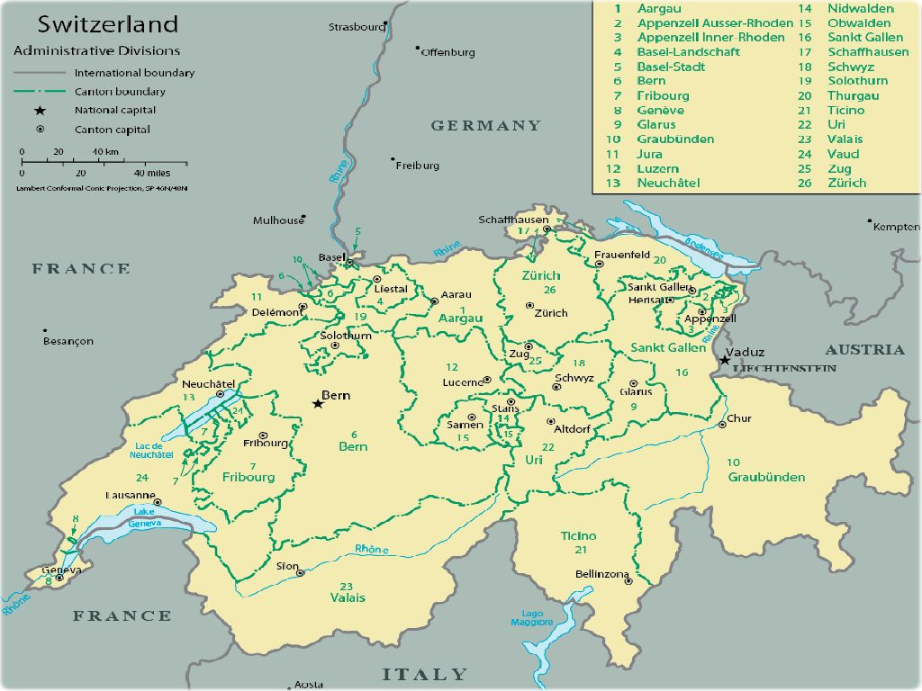 where is switzerland in europe map