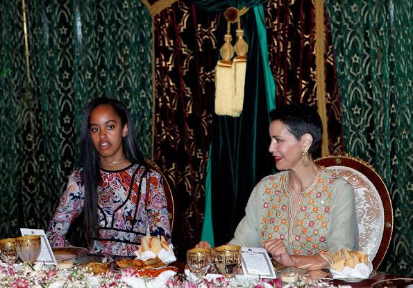 Princess Lalla Salma,  Michelle Obama, Malia Obama and Sasha Obama, Princess Lalla Meryem attend a dinner at Royal Palace.