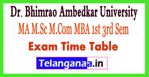 DBRAU MA M.Sc M.Com MBA MCA Time Table