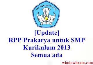 RPP Prakarya tingkat SMP Kurikulum 2013 - Update